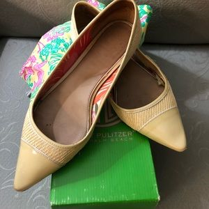 Lilly Pulitzer wicker/patent leather Flats